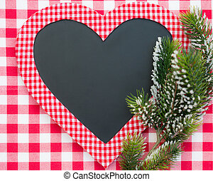 noël carte, vide, dans, forme coeur