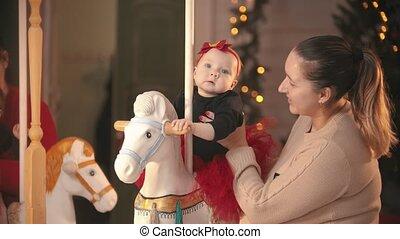 noël, chandail, mère, -, bébé, elle, beige, concept, studio