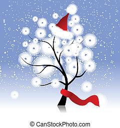 noël chapeau, sur, arbre hiver