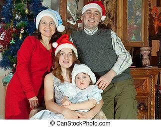 noël chapeaux, portrait, famille heureuse