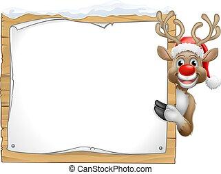 noël, claus, signe, renne, santa chapeau, dessin animé