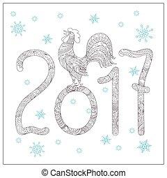 noël, coq, dessiné, 2017, main, décoré, carte