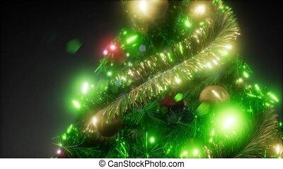 noël, coup, coloré, arbre, joyeux, lumières studio