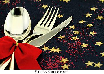 noël, cutlery., cuillère, fourchette, et, couteau, empilé...