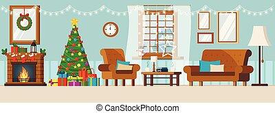 noël, décoré, dessin animé, mur, vivant, année, confortable, salle, plat, nouveau, paysage, hiver, intérieur, style., fenêtre