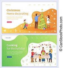 noël, décorer, cuisine, maison, vacances