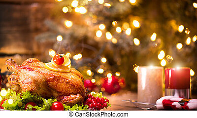 noël, dîner., rôti, table, décoré, vacances, poulet