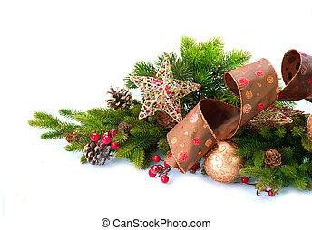 noël, decoration., décorations vacances, isolé, blanc