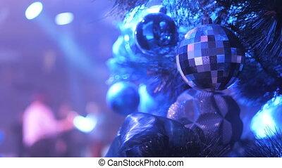 noël, disco, lumière, gens, arbre, danse