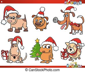 noël, ensemble, chien, caractères, dessin animé
