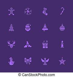 noël, ensemble, linéaire, icône, violet