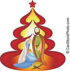 noël, famille, saint, arbre, scène, jésus, nativité, joseph, fond, marie, rouges