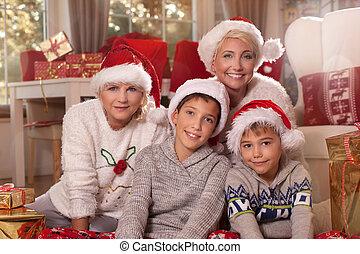 noël, family., heureux, time.