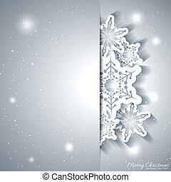 noël, flocon de neige, carte voeux