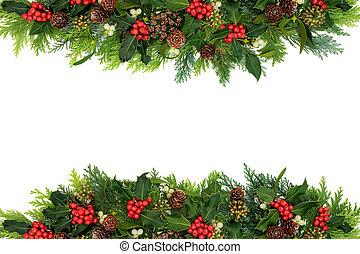 noël, floral, décoratif, hiver, frontière