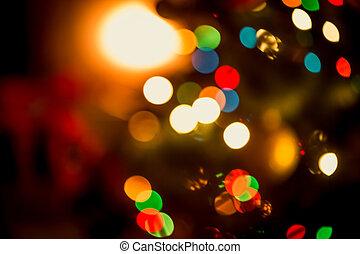 noël, fond, à, brouillé, incandescent, coloré, lumières