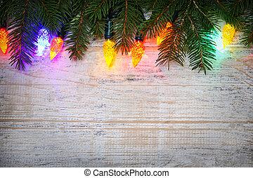noël, fond, à, lumières, sur, branches