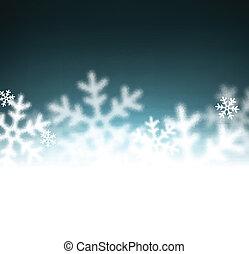 noël, fond, defocused, snowflakes.