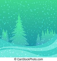 noël, fond, hiver, forêt