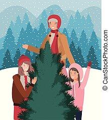 noël, gens, jeune, célébration, arbre pin