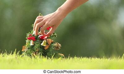 noël, girl, arbre, corrects, jouets