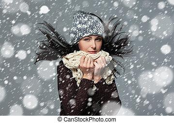 noël, girl, hiver, concept.