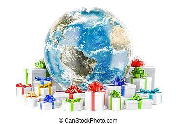 noël, globe global, présente., rendre, la terre, année, nouveau, concept., 3d