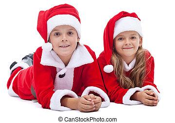 noël, gosses, costumes, santa, temps