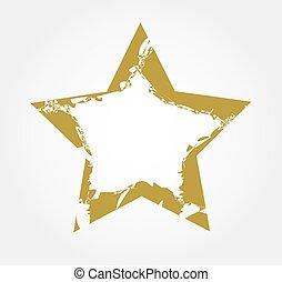 noël, grungy, or, forme, vector., style., étoile