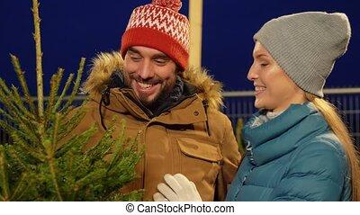 noël heureux, achat, couple, marché, arbre