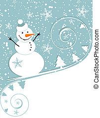 noël heureux, carte, bonhomme de neige