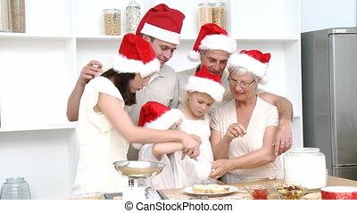 noël, heureux, cuisson, famille, gâteaux