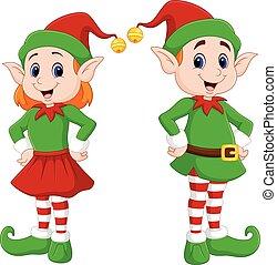 noël heureux, dessin animé, couple, elfe