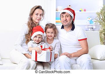 noël heureux, famille, chapeau