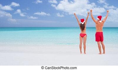 noël, heureux, loop:, cinemagraph, -, couple, seamless, voyage, vacances plage