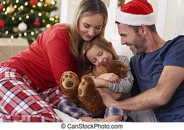 noël, heureux, temps, famille