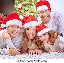 noël, heureux, veille, famille