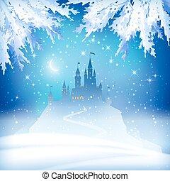 noël, hiver, château