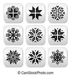 noël, hiver, flocons neige, bouton