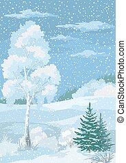 noël, hiver, forêt, paysage