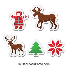 noël, hiver, pixelated, icônes