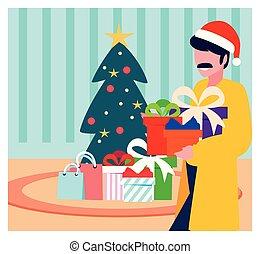 noël, homme, arbre, scène, boîtes, cadeau