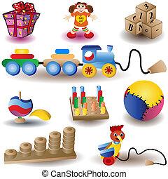 noël, icônes, 2, -, jouets