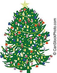 noël, illustration, arbre