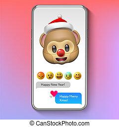 noël, illustration., santa, figure, emoji, vecteur, chapeau, sourire, vacances, emoticon, singe