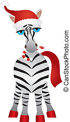 noël, illustration, zebra