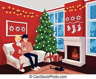 noël., jeune, joyeux, intérieur, celebration., famille, fireplace., noël, chat, gifts., décoré, invité, confortable, couple, arbre, vector., maison, salle, sofa, holiday.