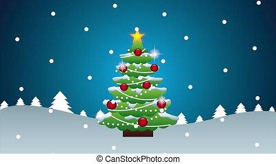 noël, joyeux, heureux, arbre, animation, pin