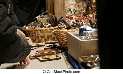 noël, kiosque, logique, jouets, allemagne, bois, gens, marché, jeu, munich., inscription, mains, allemand