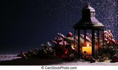 noël, lanterne, décoration